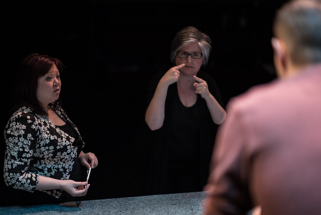 Coach, Catherine MacKinnon working with Deaf actor, Chris Dodd