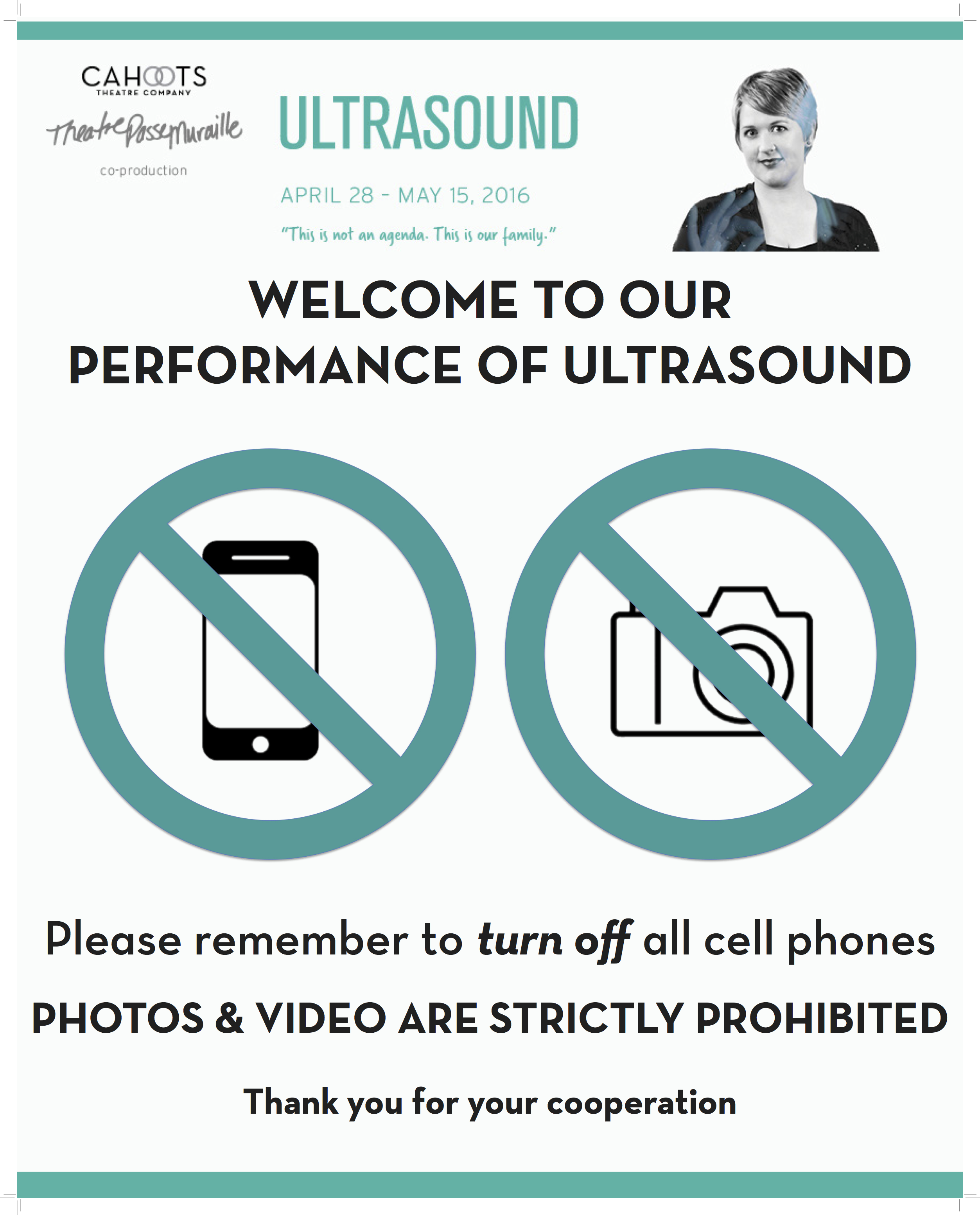 Visual signage used to show there is not photography or mobile use during the performance