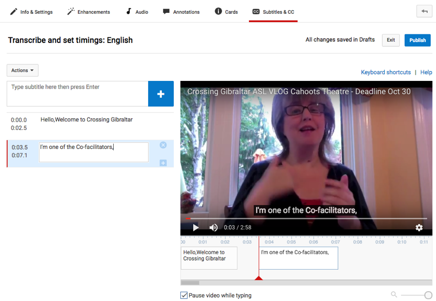 Screenshot of how to add the subtitles to a YouTube video using a timeline